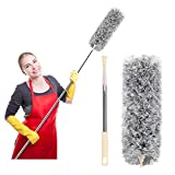 Microfiber Duster for Cleaning with Extension Pole(Stainless Steel), Extra Long 100 inches, with Bendable Head, Extendable Duster for Cleaning High Ceiling Fan, Cars