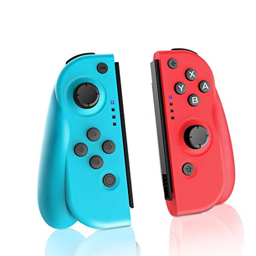 AVIDET JoyCon Controller for Switch, Replacement for Switch Joycon, Wired/Wireless Switch Controller, Turbo, Motion Control & Dual Vibration (Red&Blue)