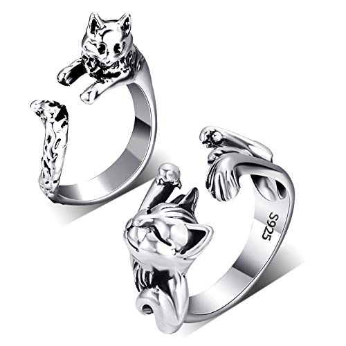 2 Pieces Cat Rings Vintage Cute Ani…