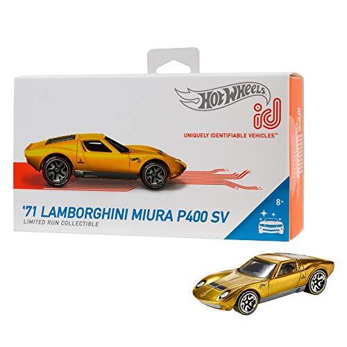 Hot Wheels iD FXB06 - Die-Cast Fahrzeug 1:64 \'71 Lamborghini Miura P400 SV mit NFC-Chip zum Scannen in der Hot Wheels iD App, Auto Spielzeug ab 8 Jahren