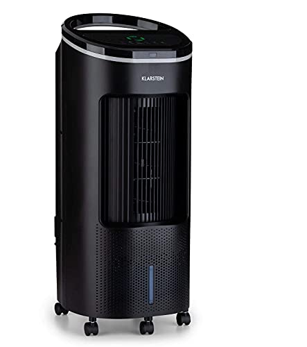 KLARSTEIN IceWind Plus - Raffrescatore Evaporativo, Ventilatore, Umidificatore, Depuratore d'Aria 4in1, Flusso: 330 m³/h, 49 Watt, Funzione NatureWind: 4 Velocità, 3 Modalità, Nero