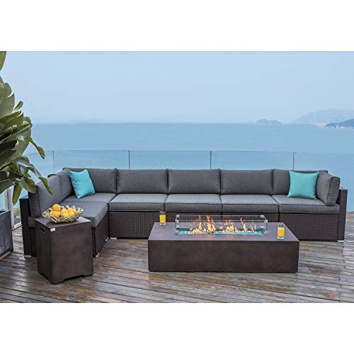 COSIEST 8 Piece Propane Firepit Table Outdoor Wicker Sectional Sofa,Chocolate Brown Patio Furniture Set w 56 x 28 inches Rectangle Bronze Fire Table (60,000 BTU) and Tank Outside(20 Gallon) for Garden