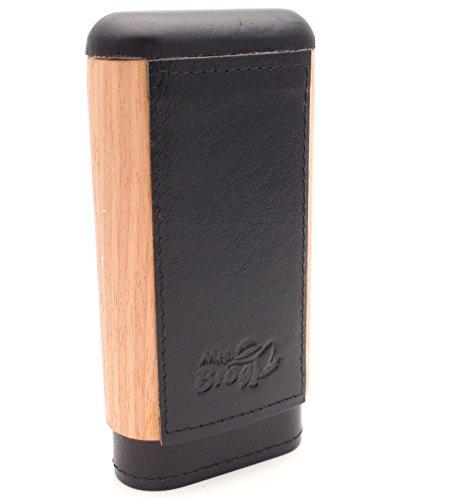 Spanish Cedar & Leather Robusto Cigar Case - Authentic Full Grade Buffalo Hide Leather - Black