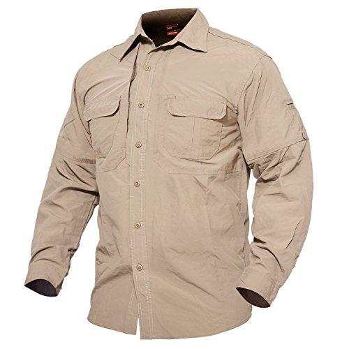 MAGCOMSEN Herren Langarm Hemd US Army Shirt Atmungsaktiv Langarm Hemd Herren Funktionshemd Leicht Arbeitsshirt Quick Dry Taktisch Hemd Safari Hemd Tropenhemd Khaki S