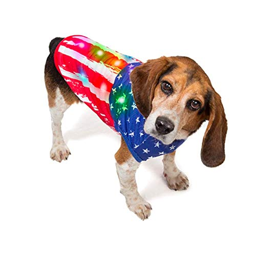 American Flag Dog Costume with Blinking Lights | Light-up Halloween Dog Sweater for Teacup Dogs, Puppies and Cats | Cat Sweater | Patriotic Dog Shirts with LED Lights | Size Teacup