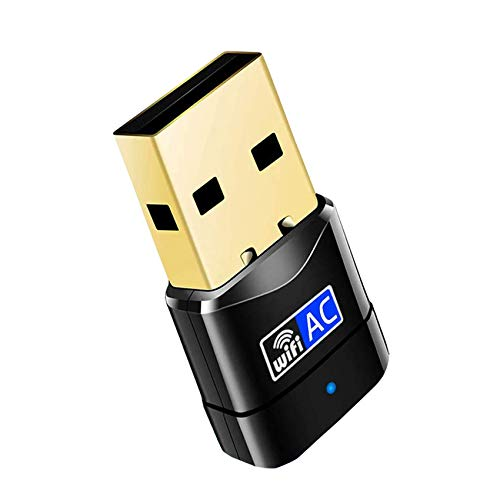 EasyULT Adattatore WiFi Scheda di Rete USB 2.0 600Mbps, Wireless Dual Band (5G/433Mbps+2.4G/150Mbps), Nessun Bisogno di Driver, per PC/Desktop/Laptop/Windows 10/8/7/ Vista/XP/Linux/Mac OS