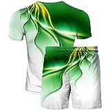 HRZHYHB Cuello Redondo Manga Corta Deportes Sudadera de Secado rápido Transpirable Camiseta Casual 3D Estampada Shorts Deportivos para Verano