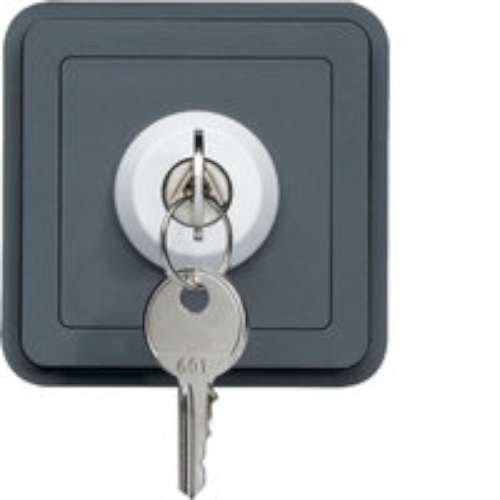 Hager cubyko - Interruptor de llave estanca 3 posición gris