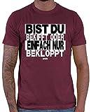 Hariz - Camiseta para hombre, diseño con texto 'Bist Du Bekifft oder einfach nur Bekloppt', color blanco y negro Rojo vino. XL