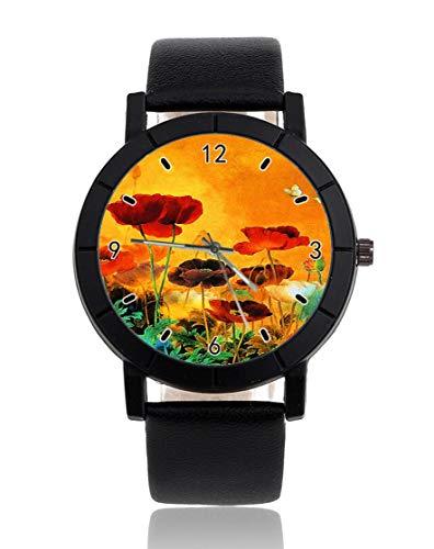 Personalisierbare Armbanduhr, rote Weide, grün, gelb und fliegender Kranich, leger, schwarzes Lederband, Armbanduhr für Männer und Frauen, Unisex-Uhren