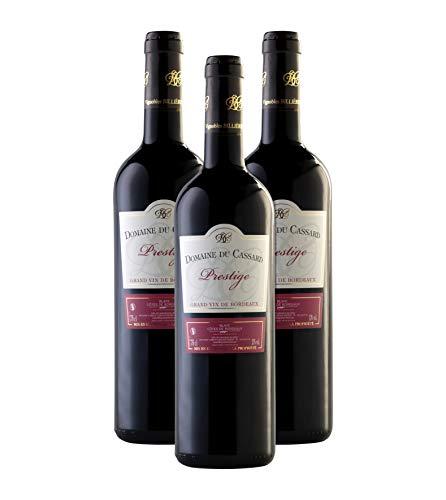 Vino tinto-Bordeaux vino Prestige-Domaine du Cassard-Medalla de oro en el concurso Terre de Vin 2019-3 botellas (3X750 ml)