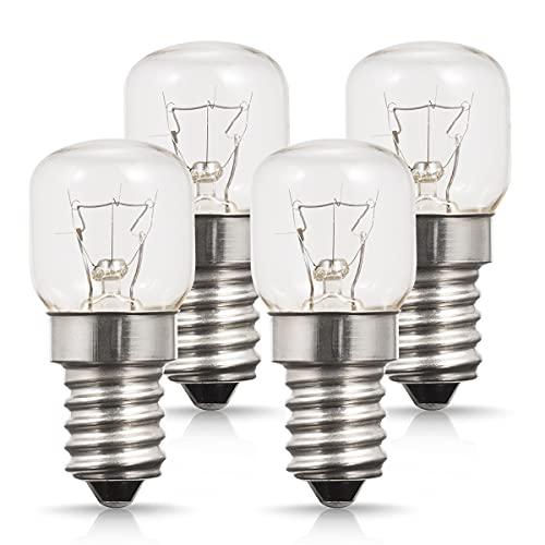 4 x 25W E14 Ampoule Four, AOYISO Ampoule Four 300 degrés, Base à vis Edison Gradable, 200LM, Blanc Chaud 2700K Ampoule Incandescence E14, Pour Four/Micro-ondes/Réfrigérateur Lumière