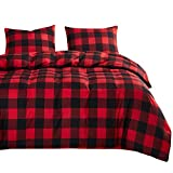 Wake In Cloud - Plaid Comforter Set, Red and Black Buffalo Check Gingham Checker Geometric Modern Pattern Printed, Soft Microfiber Bedding (3pcs, Twin Size)