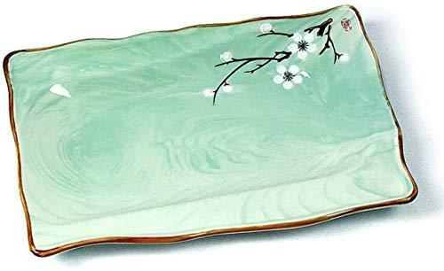 HSWYJJPFB Platos Desayuno Almuerzo Placa de Cocina Cubiertos Bandeja Placa de Postre Precioso Placa de cocción Placa Fiesta Familiar (Color: Verde) (Color : Green, Talla : 33cm*22cm)