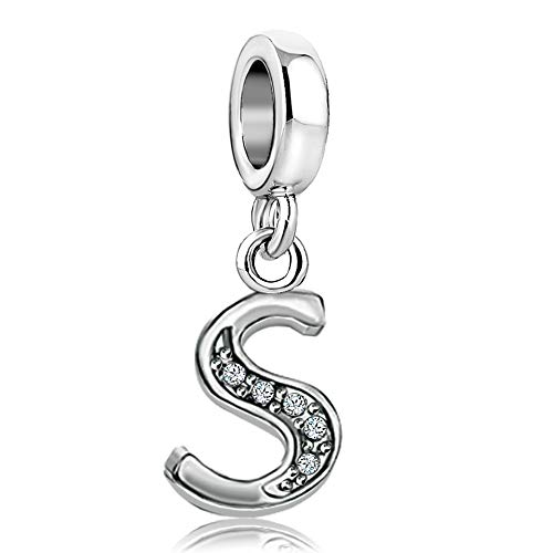 TGLS A-Z Letter Alphabet Initial Name Dangle Beads Charms for Mom Sister Friend Birthday Gift fits Bracelets & Necklaces