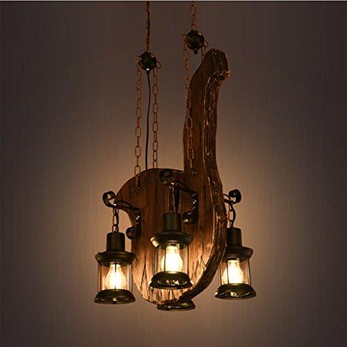 Vast decoratieve lamp in retro-stijl, hout, 4 koppen, Energy Saving Light Chandelier, warm voor woonkamerbevestiging 309