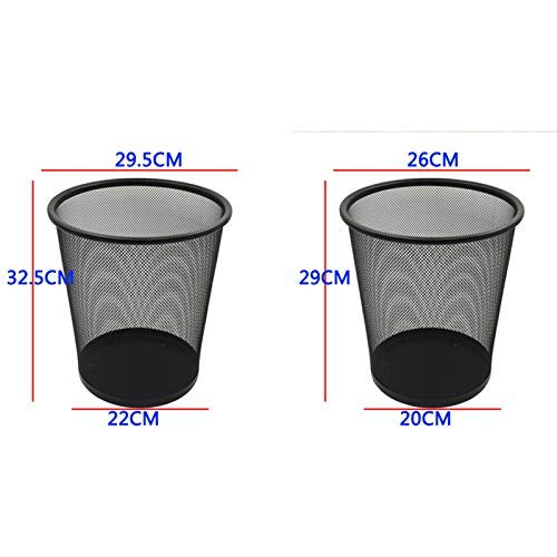 Ibuprofen Office Metal Waste Bin Mesh Waste Paper Basket Round Square Waste Bin Thickened Fireproof Without Cover 10L Silver, 29 x 26cm Round