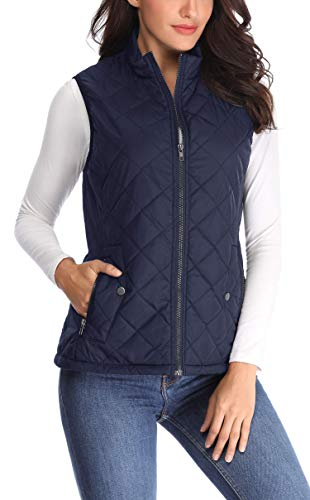 Wudodo Damen Weste mit Stehkragen Weste Jacke Reißverschluss Steppweste Winter Warm Ultraleicht