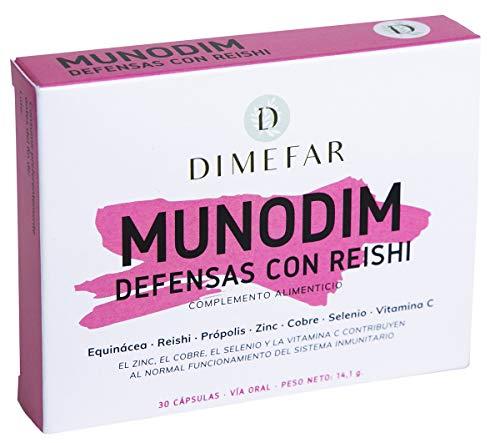 Dimefar - Munodim - Defensas + Inmunidad - Equinácea + Reishi + Própolis + Vitamina C + Zn + Cu + Se, 30 Cápsulas | Refuerza Defensas | Sistema Inmunitario