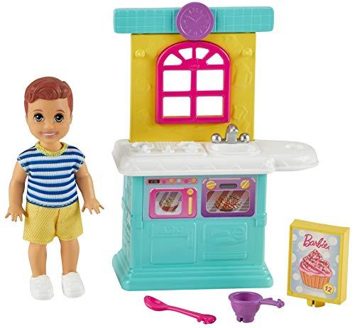 Barbie Skipper Muñeco bebé con Cocina de Juguete y Accesorios para Jugar, Regalo para niñas y niños +3 años (Mattel GRP16)