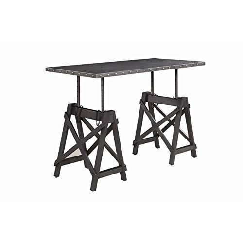 Galvanized Grey and Black Rectangular Adjustable Desk Modern Contemporary Urban MDF Metal Wood Finish Height