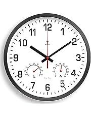 壁掛け時計 電波 温度 湿度 ステップ運針 夜間秒針停止 11.8inch/30cm アナログ 赤秒針 大数字 掛け時計 電波時計 壁掛け 大きい ナチュラル インテリア Kityoune Wall Clock