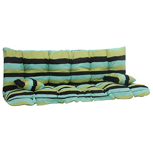 vidaXL 4X Cuscini per Dondolo Morbidi Imbottiti Spessi Decorativi Comodi Lavaggio a Mano Arredi per Esterni 160g/m² Set Verde in Tessuto