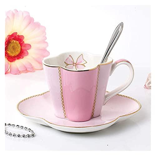 Copa y platillo conjunto de taza de té de cerámica y platillo conjunto de café taza de café taza de té negro conjunto de café conjunto 49 (Color : F)