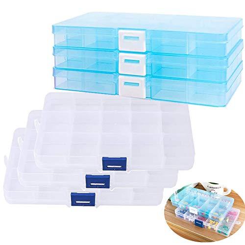 6 Boîte de Rangement Plastique avec Compartiment, 15 Grilles Boîte à Bijoux Plastique Organisateur de Rangement Transparent pour Perles, Collier, Boucles d'oreilles, Bagues ou autre Petites Choses