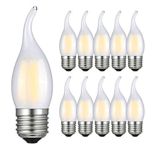 RANBOO Lampadina LED E27 a Fiamma 4W Equivalenti 40W, Bianca Fredda 6500 K, 400 Lumen, Lampadina LED Candela E27 per Lampadario, Non Dimmerabile, Vetro Smerigliato, Pacco da 10