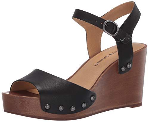 Lucky Brand Women's Zashti Wedge Sandal, Black, 8