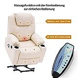 MCombo Elektrisch Aufstehhilfe Fernsehsessel Relaxsessel Massage Heizung elektrisch verstellbar USB (Creme) - 9