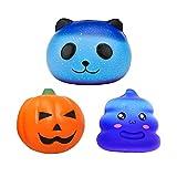 Squishy Toys, Yisscen Slow Rising Squishies - Lot de 3 - Jouets Kawaii Jumbo parfumés Squeeze Soft pour les enfants et les adultes (Potiron, Panda, Caca)