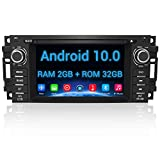 Android 10.0 Car Stereo Radio 6.2 Inch Touch Screen with Bluetooth GPS Support Apple Carply Andriod Auto Head Unit for Jeep Wrangler JK Grand Cherokee Compass Chrysler Dodge Ram