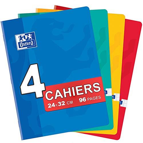 OXFORD Lot de 4 Cahiers Color Life 24x32cm Grands Carreaux Seyès 96 Pages Agrafées 90g Couleurs Assorties