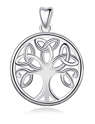 Jewelry Trends Trinity Knot Celtic Tree of Life Sterling Silver Round Pendant Necklace 18'