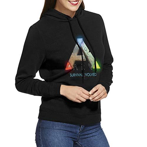 Damen Hoodie Mantel Ark Sur-Vival Evo-Lved Mode Casual Baumwolle Langarm Pullover SweatshirtSchwarz Gr. S, Schwarz
