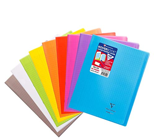 Clairefontaine 981490AMZC Lot de 9 Cahiers Agrafés Koverbook - 24x32 cm 96 Pages Grands Carreaux Papier Blanc 90 g - Couverture Polypro Coloris aléatoire