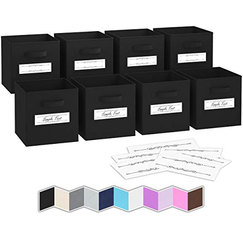 Royexe - Storage Cubes - (Set Of 8) Storage Baskets   Features Dual Handles & 10 Label Window Cards   Cube Storage Bins   Foldable Fabric Closet Shelf Organizer   Drawer Organizers And Storage (Black)
