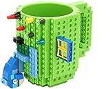 Build-on Brick Mug - Tazza da caffè con mattoncini , Regali Originale , Idea Regalo per Natale Pasqua Festa del papà Compleanno, Compatibile con Lego(350 ml) (Verde)
