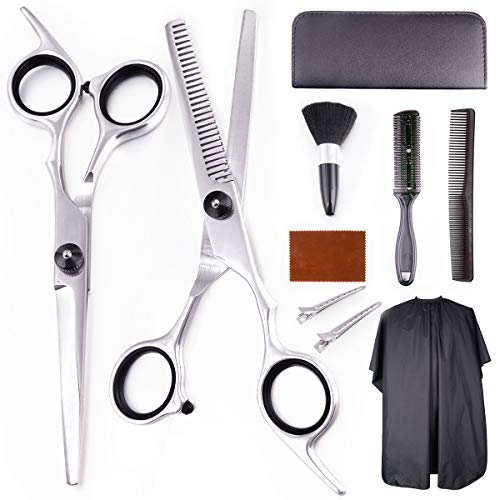 EZIGO Professional Hair Cutting Scissors Set 10 PCS Hair Cutting Scissors Thinning Shears Multi-Use Haircut Kit Scissors Hair Cutting Shears Set For Barber Salon Home Hair Cutting Scissors