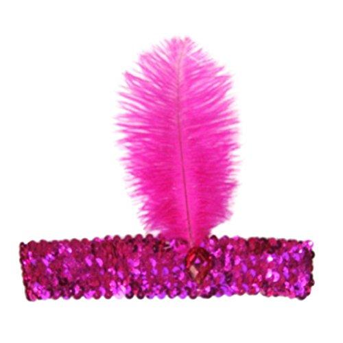 Suberde - Fascia per capelli da donna con piuma, anni '20, fascia per capelli Rosa Taglia unica