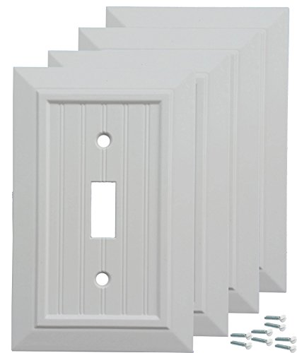 Pack of 4 Wall Plate Outlet Switch Covers by SleekLighting | Classic Beadboard Wall plates| Variety of Styles: Decorator/Duplex/Toggle/Blank/& Combo | Size: 1 Gang Toggle