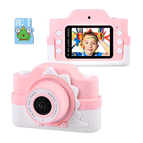 Tyhbelle WiFi Kinderkamera mit Cartoon-Schutzhülle 24 Megapixel HD Digital Kamera 2.0