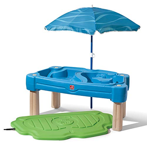 Step2 Cascading Cove Sand & Water Table with Umbrella | Kids Sand & Water Play Table with Umbrella | 6-pc Accessory Set Included, Blue