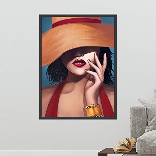 (Geen frame) 60x80 CM Poster Wall Art Modulaire Foto Afdrukken Nordic Stijl Moderne dragen een hoed vrouwen Canvas Schilderij Woonkamer Thuis Decortion
