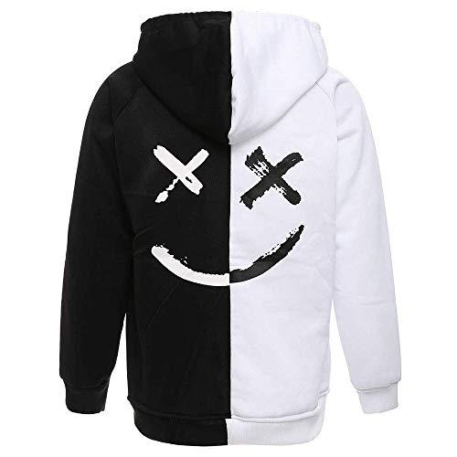 XIAOYAO Herren Basic Kapuzenpullover Sweatjacke Pullover Hoodie Sweatshirt (L(Höhe:170-175CM-Gewicht:55-63KG), Schwarz und Weiß)