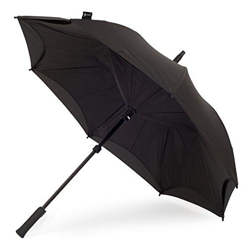 KAZbrella® - Der Regenschirm neu erfunden / der Inside Out Regenschirm (gerader Griff)., schwarz / schwarz (Schwarz) - .