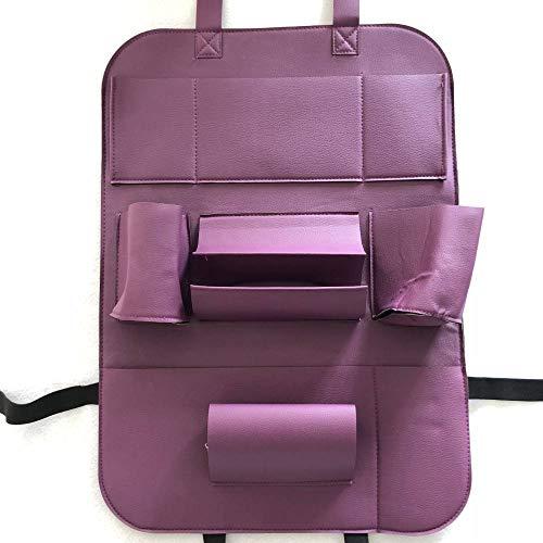 WSKIRNL 2Pcs Auto Rückenlehnenschutz,Auto Organizer Bag Purple Sitz Hängende Tasche Tasche Leder Klappstuhl Gesäßtasche Kick Matten Autositz Rückenprotektor