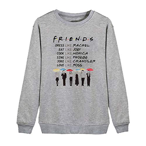 Women Friends TV Show Sweatshirts Dress Like Rachel Letter Print Funny Graphic Casual Pullover Shirt Top (Gray, XL)